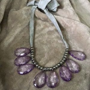Jewelry - Costume amethyst colored with silver tone necklace